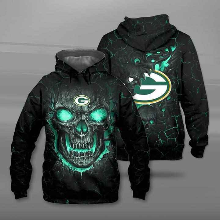 Lava Skull Green Bay Packers Hoodie 3d