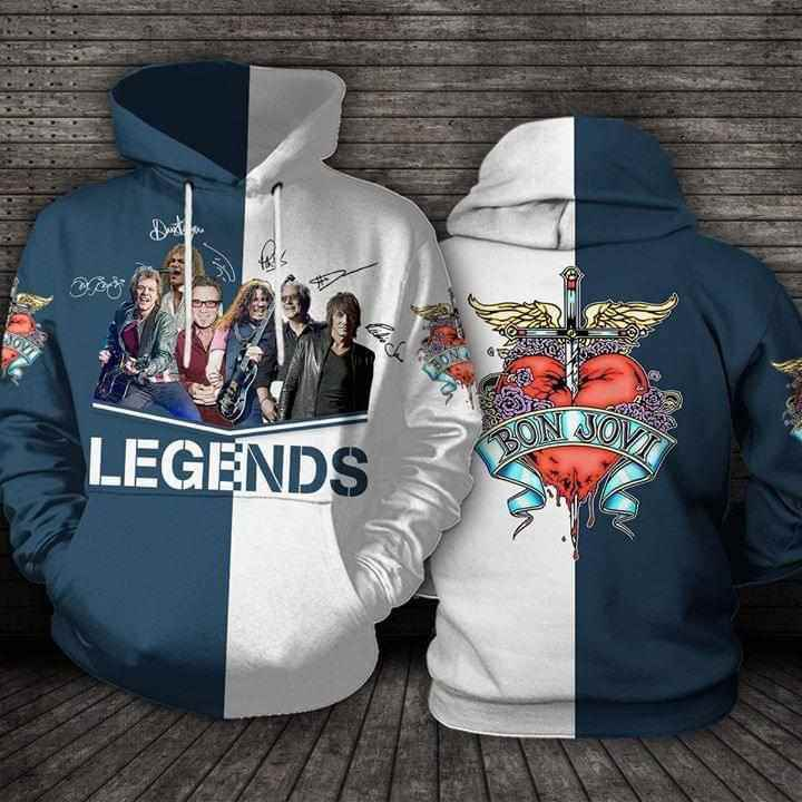 Legends Bon Jovi Band Signatures Hoodie 3d
