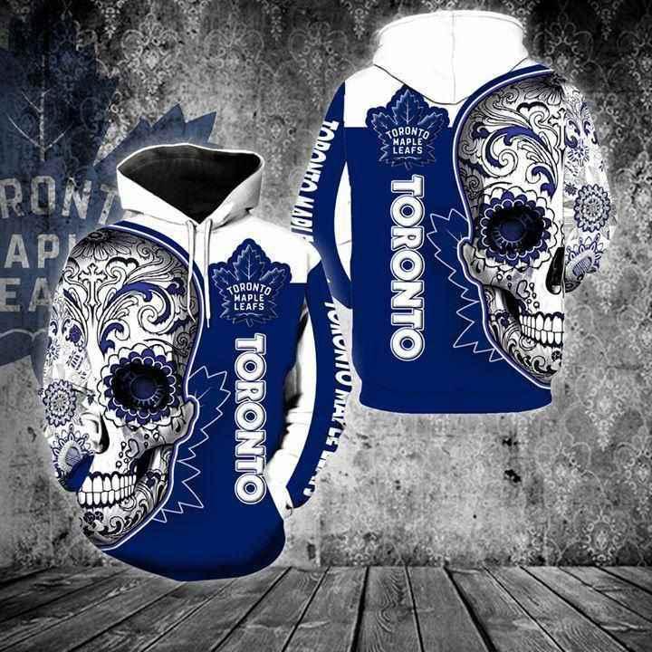 Toronto Maple Leafs Sugar Skull Hoodie 3d